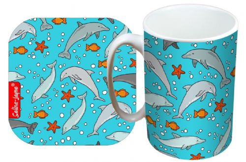 Selina-Jayne Dolphins Limited Edition Designer Mug and Coaster Set